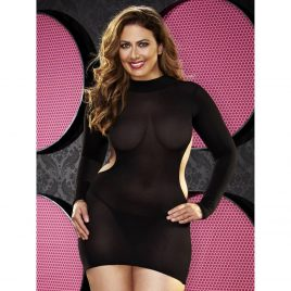 Lapdance Plus Size Long Sleeve Backless Mini Dress