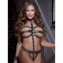 Exposed Lust Wet Look Strappy Choker Teddy
