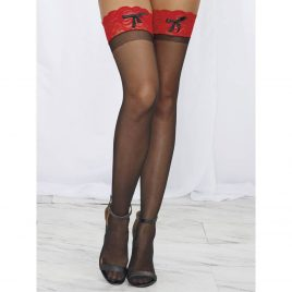 Dreamgirl Sheer Lace Ribbon Top Thigh Highs