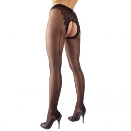 Cottelli Crotchless Pantyhose with Back Seam