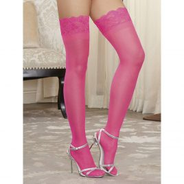 Dreamgirl Hot Pink Lace Top Thigh Highs