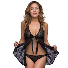 Lovehoney Unwrap Me Black Lace Babydoll