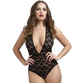 Lovehoney Crotchless Deep Plunge Black Lace Teddy
