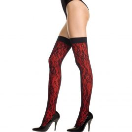 Music Legs Lace Overlay Stockings