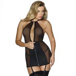 Dreamgirl Halterneck Zip-Front Mini Dress
