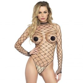 Leg Avenue Black Fence Net Long Sleeved Teddy