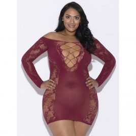 iCollection Plus Size Criss-Cross Front Long Sleeve Mini Dress