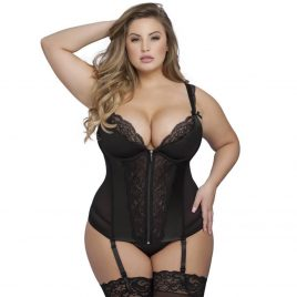 Lovehoney Plus Size Treasure Me Black Basque Set