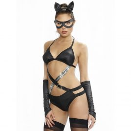 Dreamgirl Wet Look Fetish Cat Costume (4 Piece)
