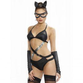 Dreamgirl Wet Look Fetish Cat Costume (4 Piece)