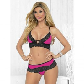 Escante Hot Pink and Black Lace Bra Set