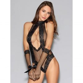Dreamgirl Black Fishnet and Lace Halterneck Teddy with Gloves