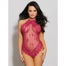 Dreamgirl Pink Lace Halterneck Teddy
