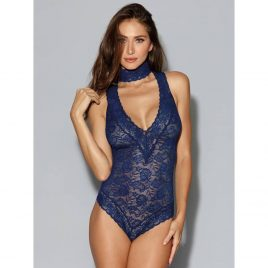 Dreamgirl Blue Lace Choker Teddy