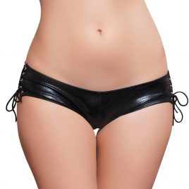 Seven 'til Midnight Crotchless Wet Look Lace-Up Panties