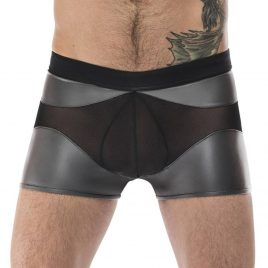 Male Power Silver Wet Look and Mesh Boxer Shorts