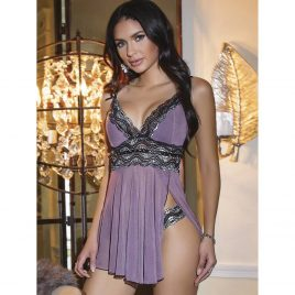 Coquette Purple Mesh and Metallic Lace Babydoll Set