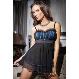 Coquette Black Lace Push-Up Babydoll Set