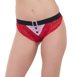 Escante Plus Size Red Lace Ms Santa Panties
