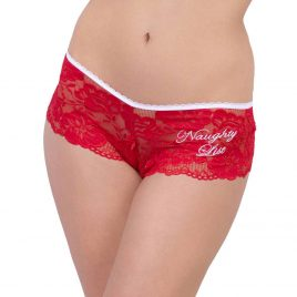 Escante Red Crotchless Christmas Lace Shorts