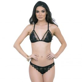 Escante Black Front-Opening Strappy Lace Bra Set