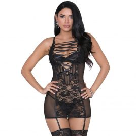 iCollection Sheer Black Lace-Up Chemise Set