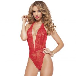 Seven 'til Midnight Kiss of Envy Sheer Red Lace Teddy