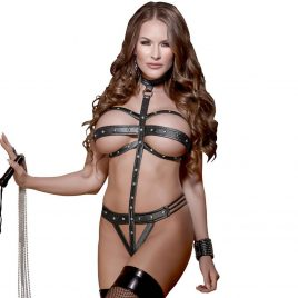 Exposed Plus Size Lust Wet Look Strappy Choker Teddy
