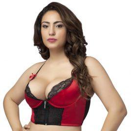 Lovehoney Plus Size Front-Fastening Satin Longline Bra Red