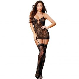 Dreamgirl All-In-One Lace Mini Dress and Stockings