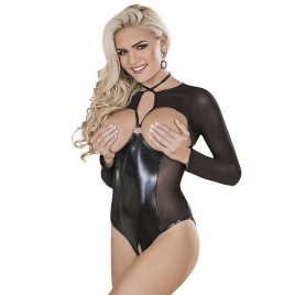 Exposed Black Wet Look Long Sleeve Open Cup Crotchless Teddy