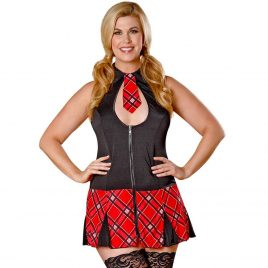 Exposed Plus Size Zip Front Sexy Schoolgirl Costume