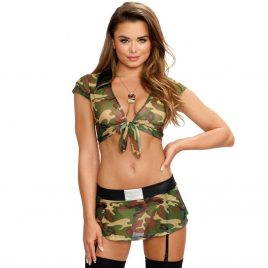 Dreamgirl Camouflage Tie Front Top and Skirt Set