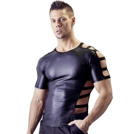 Svenjoyment Men's Black Wet Look Cut-Out Shirt
