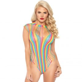 Leg Avenue Rainbow Shredded Cut-Out High Leg Teddy