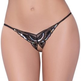 Seven 'til Midnight Black Sequin Crotchless Butterfly Thong