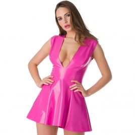 Easy-On Latex Pink Plunge Skater Dress