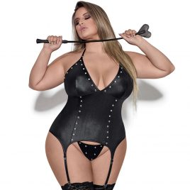 Exposed Lust Plus Size Wet Look Basque and Garters Set