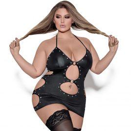 Exposed Lust Plus Size Selene Fetish Wet Look Dress Set