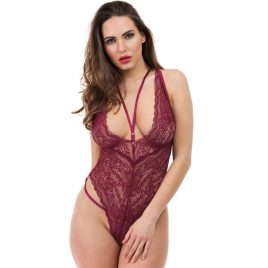 Lovehoney Late Night Liaison Wine Crotchless Lace Teddy