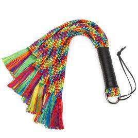 Bondage Boutique Rainbow Flogger with Leather Handle
