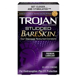 Trojan Studded BareSkin Lubricated Condoms - 100-Pack