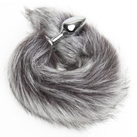 DOMINIX Deluxe Stainless Steel Medium Faux Silver Fox Tail Butt Plug