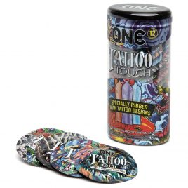 ONE Tattoo Touch Ribbed Condoms (12 Count)