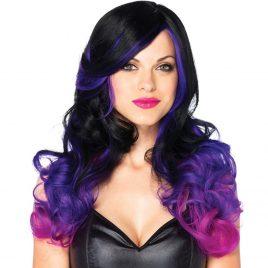 Leg Avenue Allure Long Wavy Black and Purple Ombre Wig