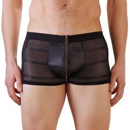 Svenjoyment Wet Look Black Zip-Up Boxer Shorts