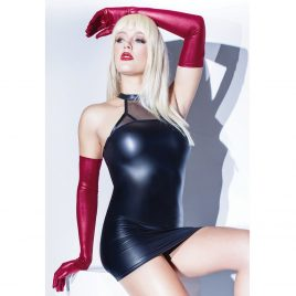 Coquette Red Wet Look Full-Length Gloves