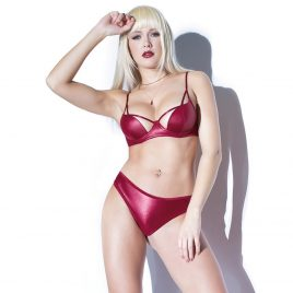 Coquette Red Wet Look Cut-Out Bra