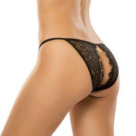 Allure Black Crotchless Lace Panties