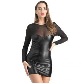 Lovehoney Fierce Wet Look and Mesh Long Sleeve Dress